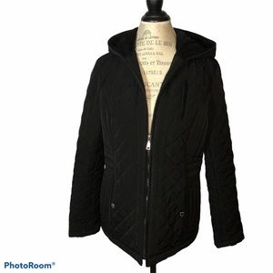 laundry by design black quilted jacket hood Large